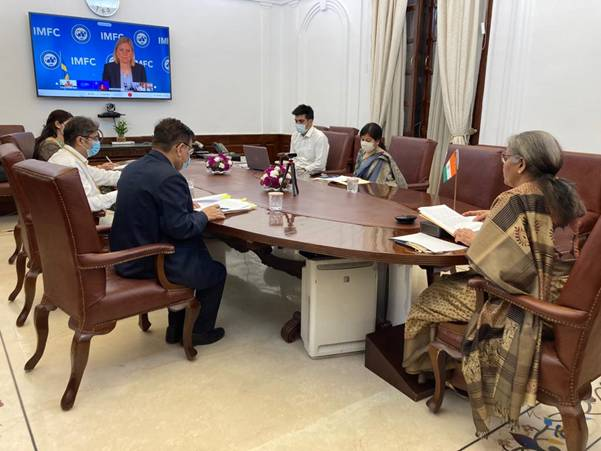 Finance Minister Smt. Nirmala Sitharaman attends Plenary Meeting of International Monetary and Financial Committee (IMFC) of IMF through video-conference