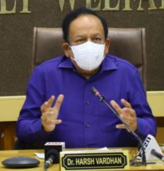 Dr. Harsh Vardhan reviews Public Health Response to COVID-19 and Progress of Vaccination with Uttar Pradesh, Madhya Pradesh, Andhra Pradesh and Gujarat