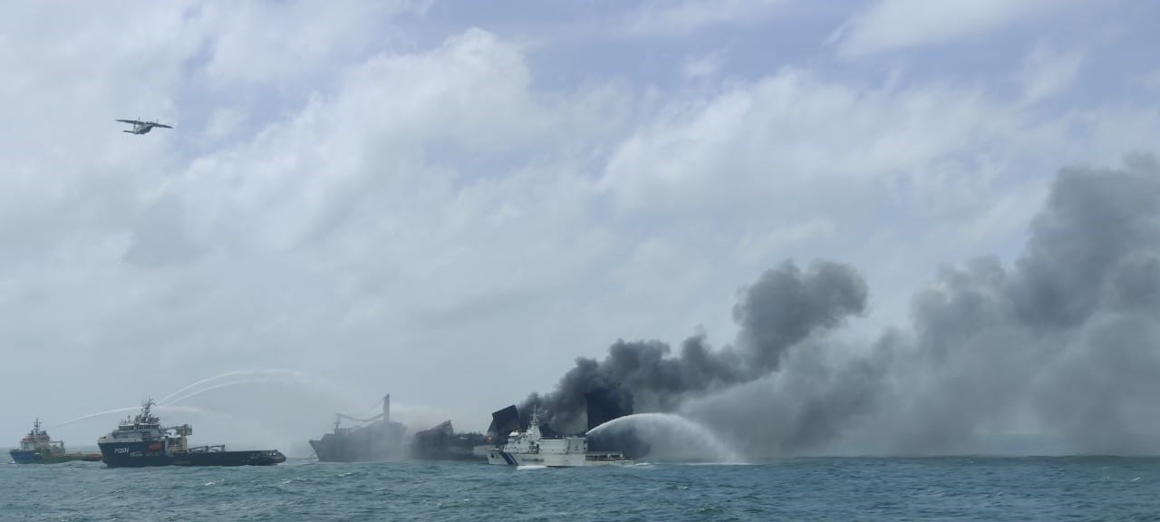Fire-fighting operations by Indian Coast Guard continue unabated to douse fire onboard MV X-Press Pearl