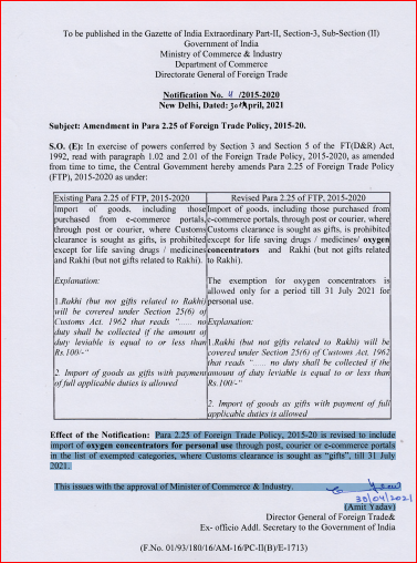 Import of Oxygen Concentrators for personal use included in exempted category list