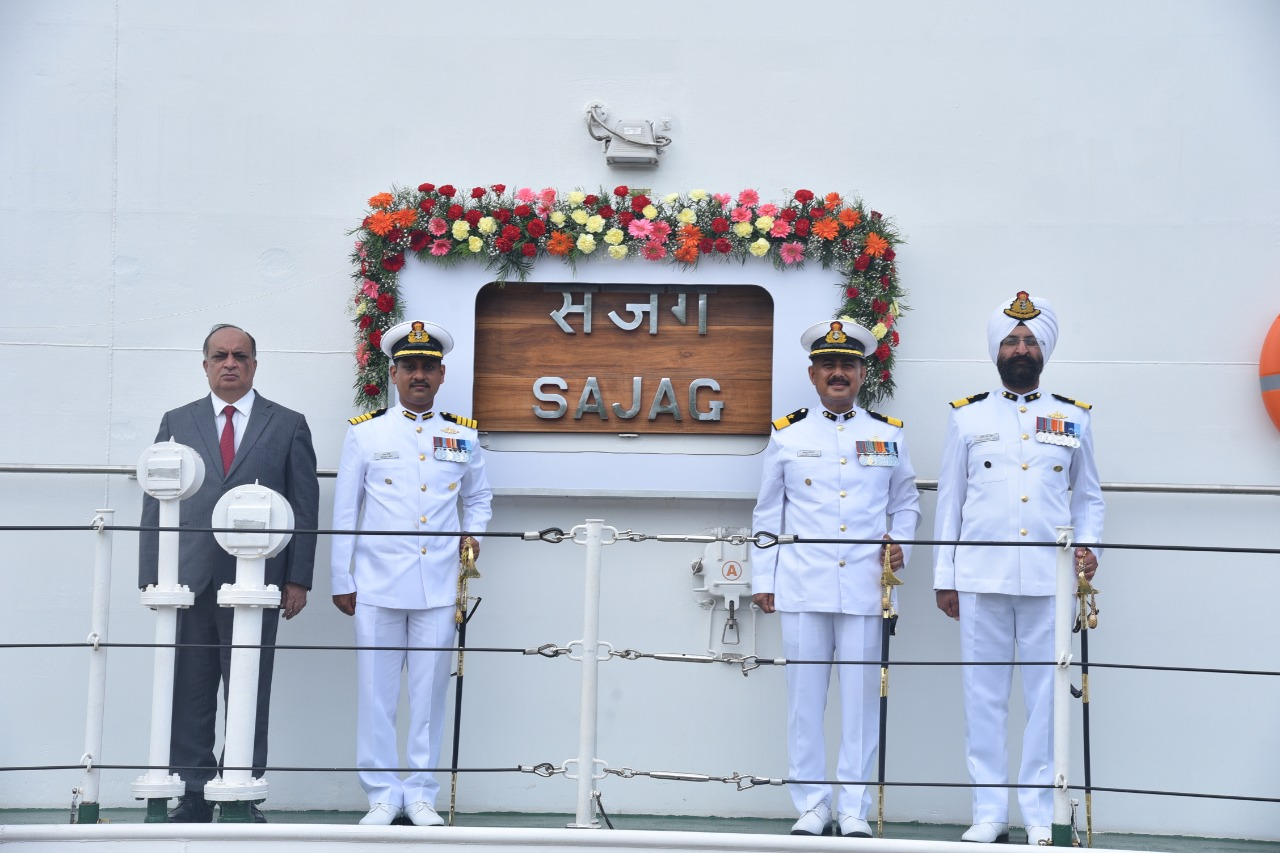 Indian Coast Guard Offshore Patrol Vessel Sajag commissioned by National Security Advisor Shri Ajit Doval