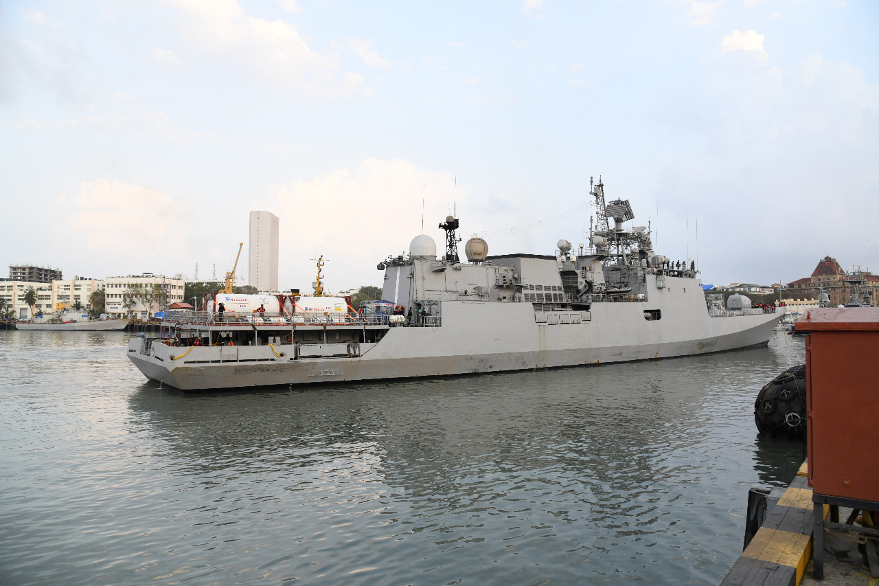 INS Trikand arrives at Mumbai with Covid relief Material as part of Operation Samudra Setu II