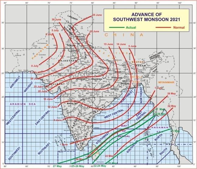 Southwest Monsoon further advances—- Conditions are likely to become favourable for onset of Southwest Monsoon over Kerala around 31st May 2021
