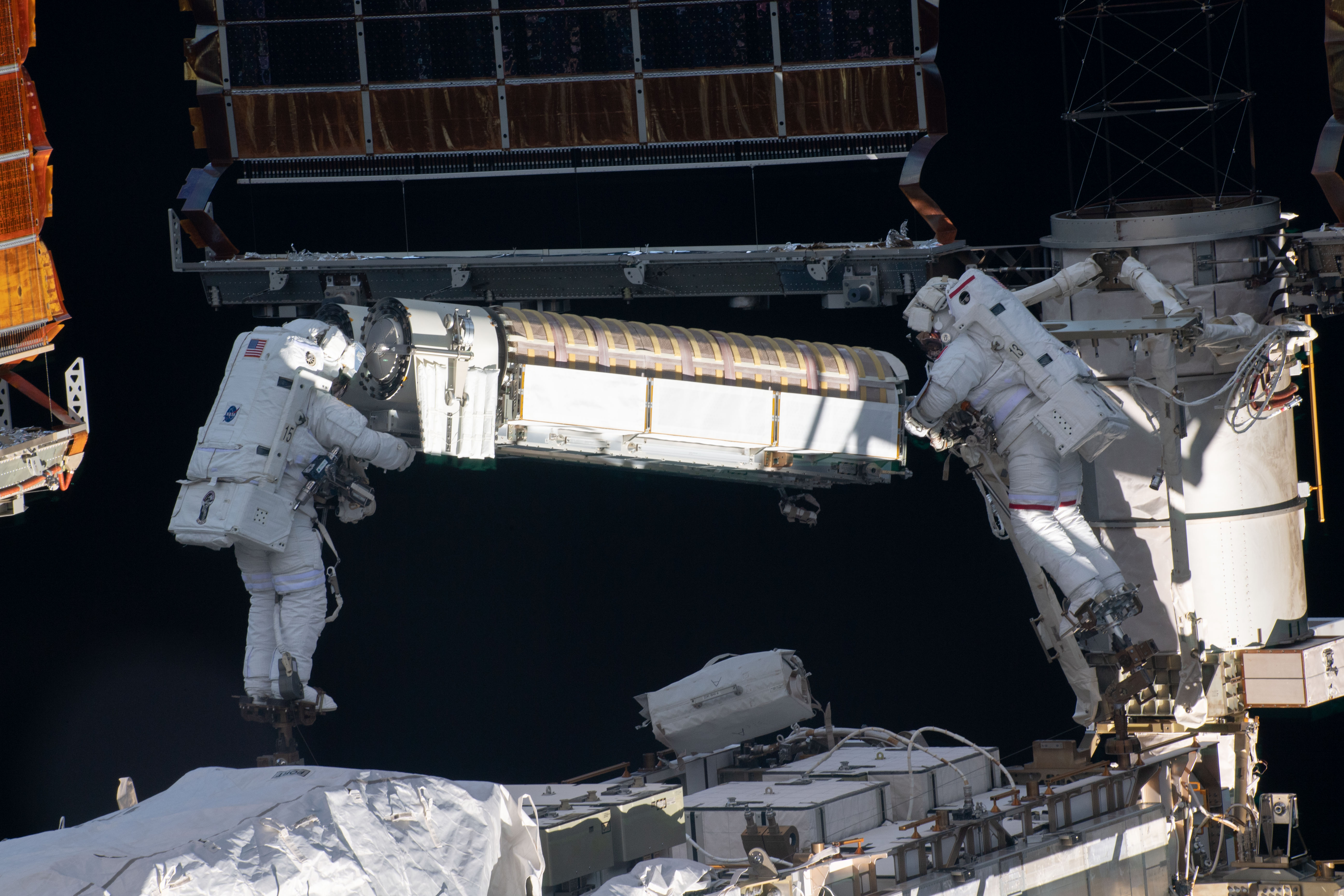 NASA and ESA Astronauts Continue Installing Space Station Solar Arrays
