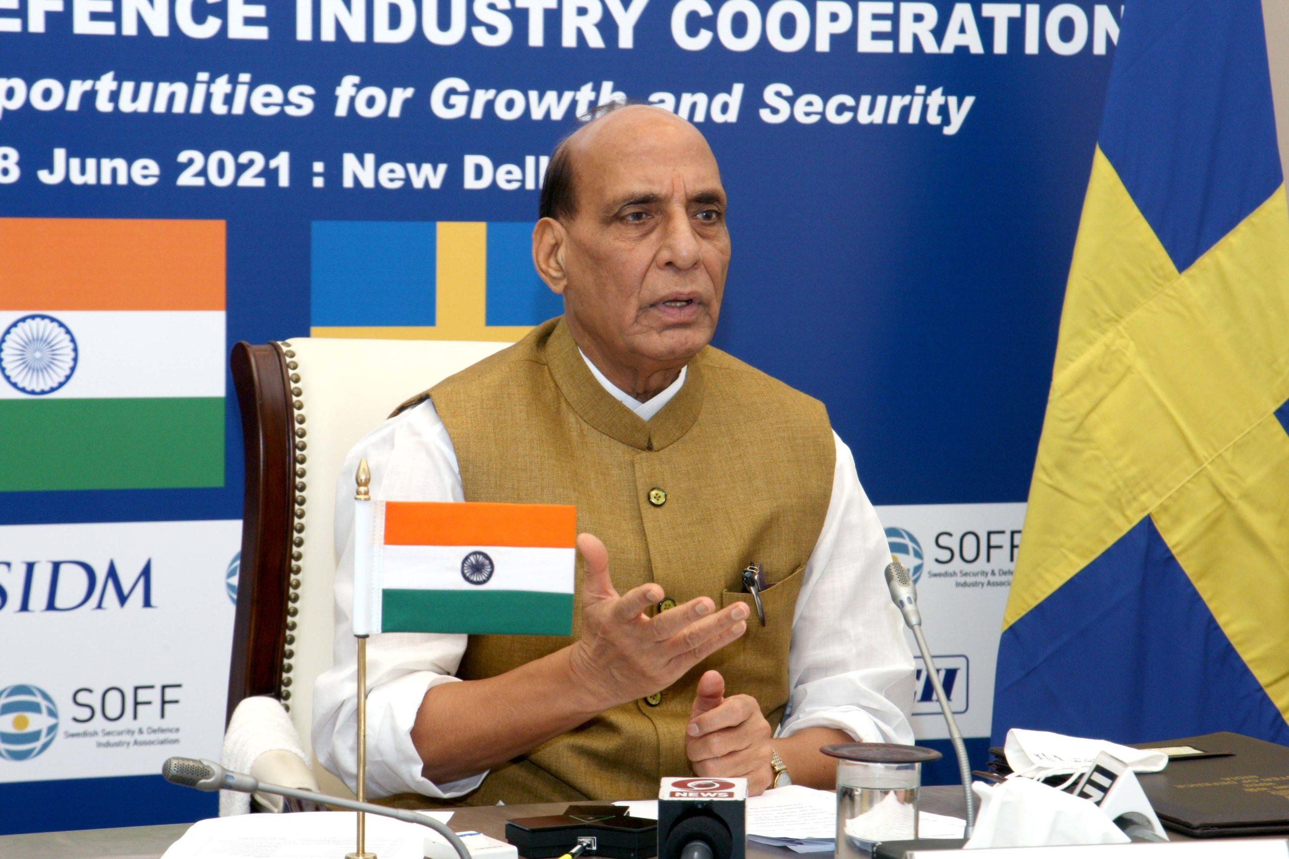 Raksha Mantri invites Swedish firms to invest in defence corridors in Uttar Pradesh & Tamil Nadu;