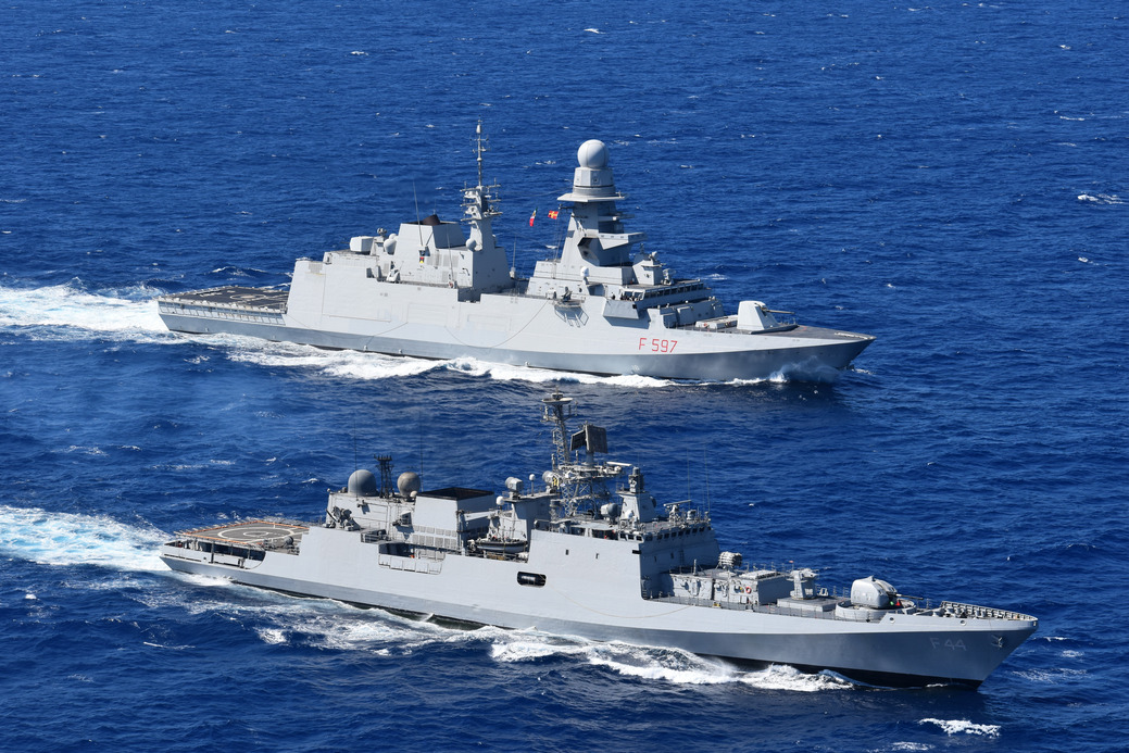 INS TABAR EXERCISES WITH ITALIAN NAVY OFF NAPLES, ITALY