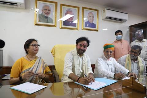 Shri G Kishan Reddy takes charge as Union Culture Minister