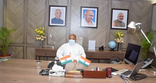 Shri Ramchandra Prasad Singh takes charge of the Ministry of Steel as the Cabinet Minister
