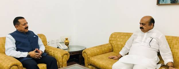 Chief Minister of Karnataka, Basavaraj Bommai calls on Union Minister Dr Jitendra Singh and discussed issues related to the Ministry of Personnel and Science Ministries.