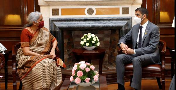 H.E. Dr. Thani Bin Ahmed Al Zeyoudi, Minister of State for Foreign Trade, United Arab Emirates, calls on Union Finance Minister Smt. Nirmala Sitharaman
