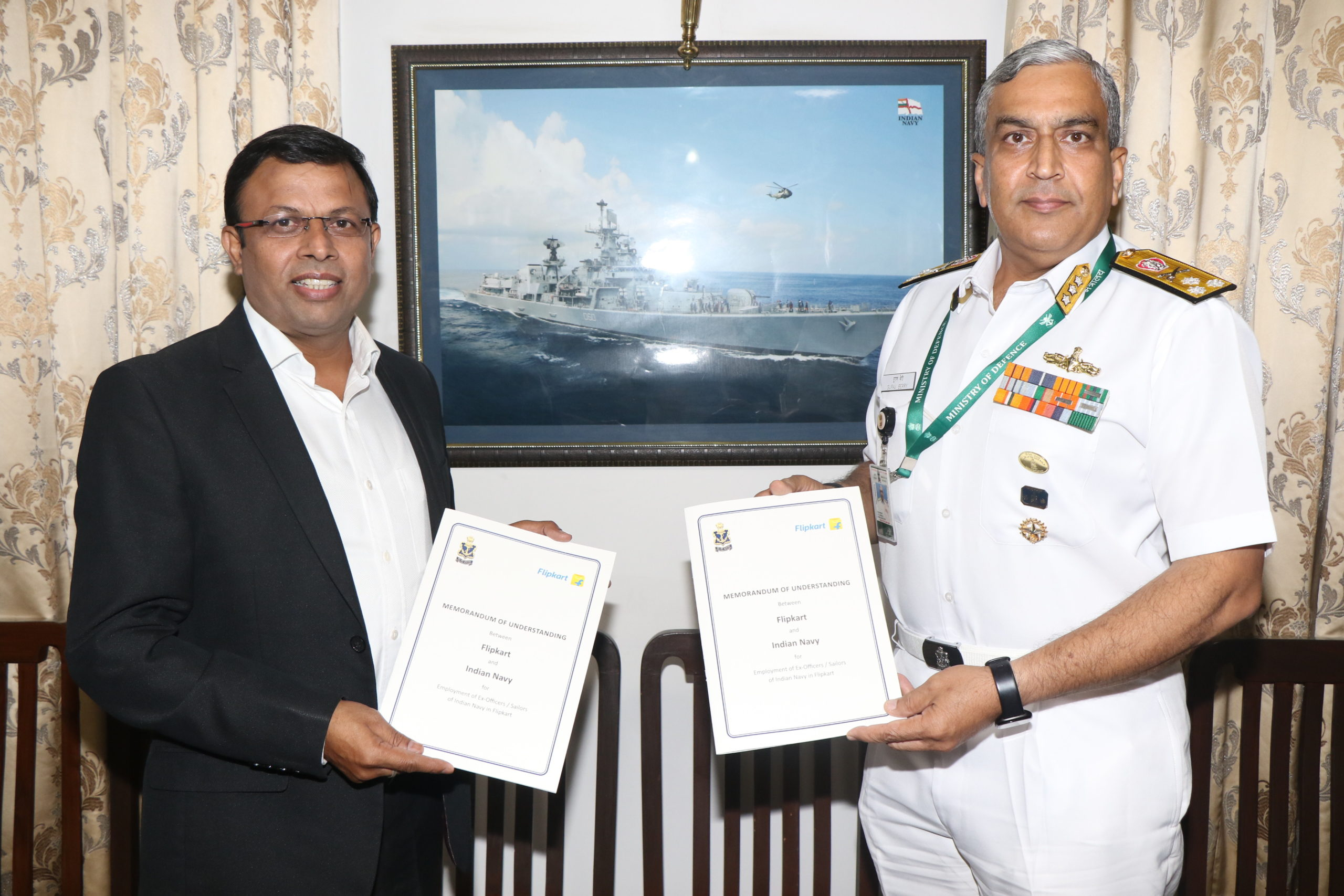 INDIAN NAVAL PLACEMENT AGENCY AND FLIPKART SIGN MOU TO FIND OPPORTUNITIES FOR THE RESETTLEMENT OF NAVY VETERANS
