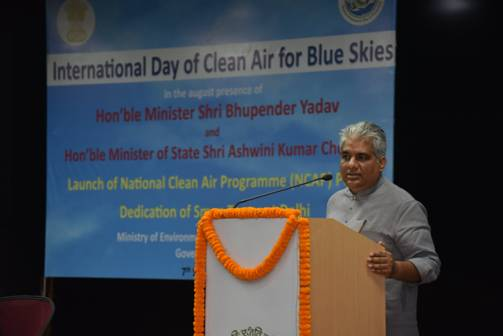 Shri Bhupender Yadav dedicates first functional Smog Tower of India, situated at Anand Vihar in New Delhi.