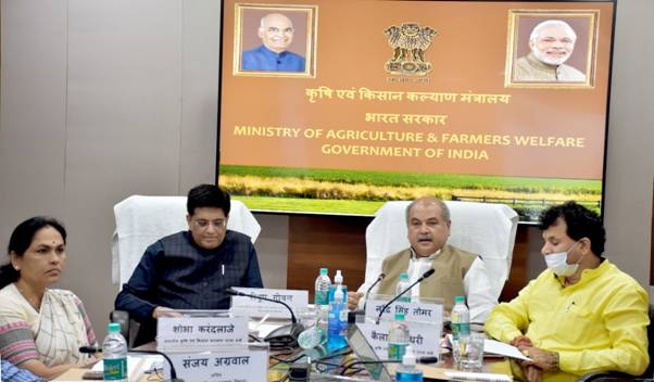 Union Agriculture Minister Shri Narendra Singh Tomar and Union Commerce Minister Shri Piyush Goyal address Chief Ministers' Conference on initiatives and schemes for farmers' welfare